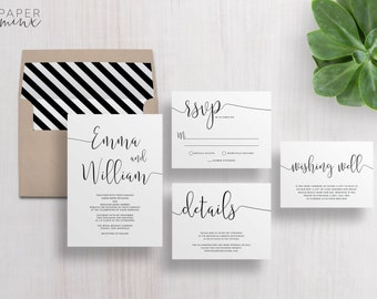 Wedding Invitation | Wedding Invitation Suite | Calligraphy Invitation | Black and White Invitation | Printed Wedding Suite | Gigi