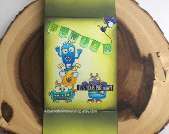Happy Birthday Card, Boy Birthday Card, Handmade Birthday Card, Monster Card, Monster Birthday Card, Handmade Birthday Greeting Cards