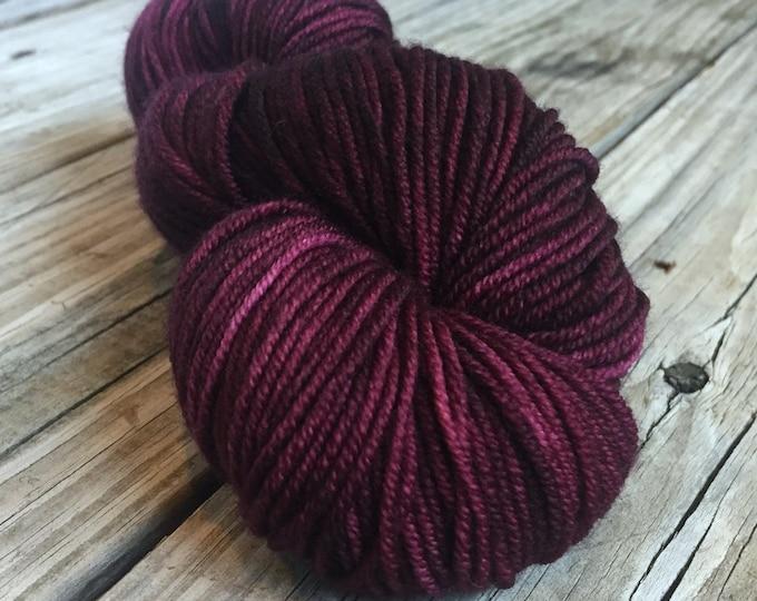 Feelin Fine with Blackberry Wine Yarn Hand Dyed Worsted Weight Yarn 218 yards Superwash Merino Wool Treasured Warmth Hand burgandy purple