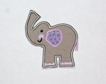 Embroidered Iron On Applique-Purple Elephant   RTS