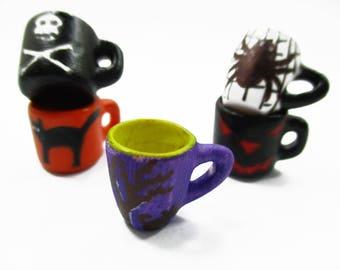 Dollhouse Miniatures 5 Hand Painted Halloween Seasonal Cup Mug Ceramic Supply Charms 14003