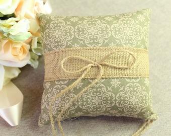Wedding Ring Pillow, Sage Green Natural Linen, Ring Bearer Pillow