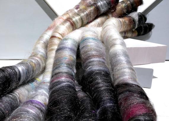 "Scrap fiber spinning felting rolags ""Spring Cleaning:The Neutral Zone"" fiber art rolags, spinning fiber, nuno felting, black white grey"