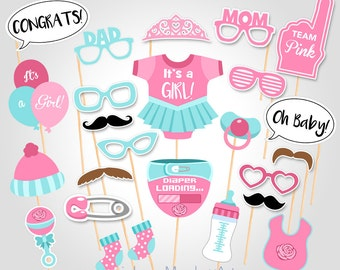 Printable Baby Shower Photo Booth Props - Printable Pink Baby Shower PhotoBooth Props - It's a Girl Baby Photobooth Props