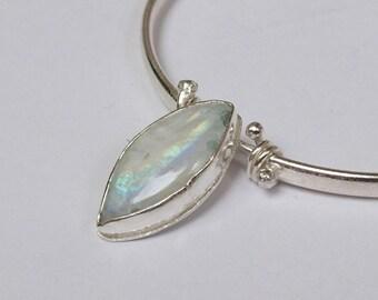 Sterling silver handmade marquise shaped moonstone oval bangle, hallmarked in Edinburgh.
