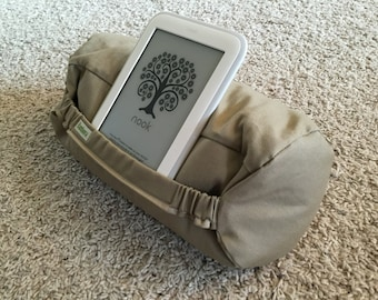 Personalized e-Reader pillow stand - organic and made in the USA!