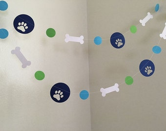 Puppy Dog Themed Paper Garland Puppy Birthday Decorations Dog Birthday Party Pawty Decorations Puppy Garland Puppy BannerCUSTOM COLORS 10ft