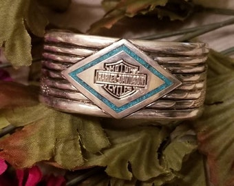 HD Silver Turquoise Bracelet, Heavy Cuff Motorcycle Bracelet, Turquoise Stone Logo, Ladies Wide Cuff Vintage Bracelet, 90's, Stamped, Patina