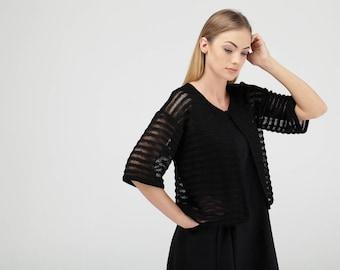 Black Linen Knitted Bolero Cardigan