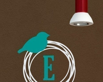 Bird Nest Monogram Wall Decal, Bird Nursery Wall Decal, Nursery Wall Art, Childrens Wall Decals