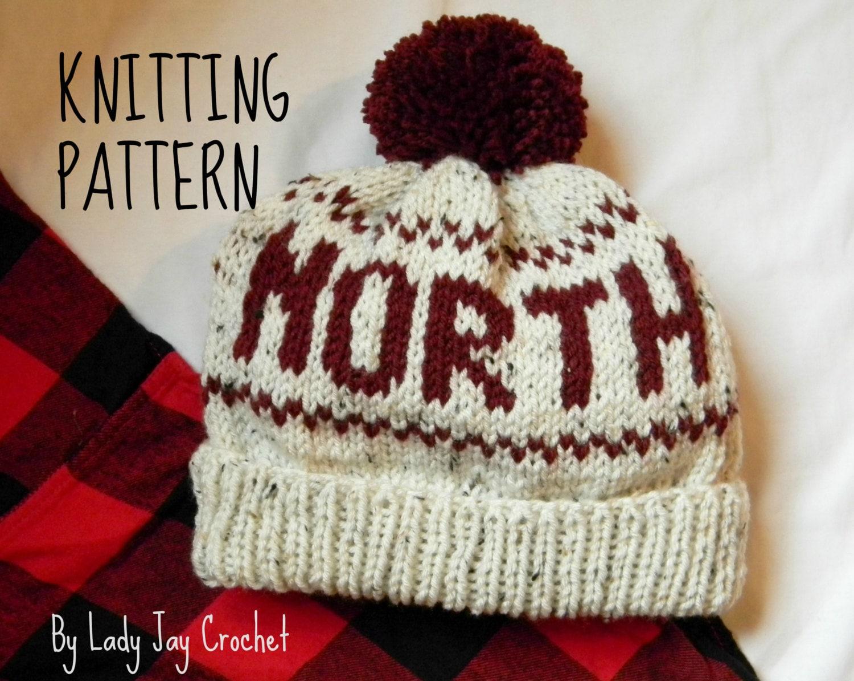 PATTERN: North Beanie pattern   adult knit pom pom toque   diy ...