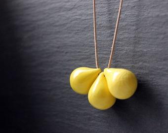Handmade ceramic drop beads, yellow pendant necklace