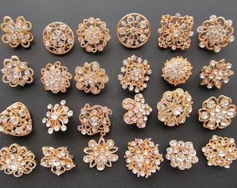 Gold Brooch Lot 24 Rhinestone Button Brooch Pin Mixed  Wholesale Crystal Wedding Bouquet Brooch Bridal Button Hair Cake Shoe DIY Kit Set