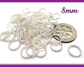 50 Bright Silver Twisted Braided Closed Jump Rings 8mm #JRT1