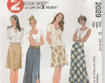 Skirt Pattern Long and Knee Length Side Slit Misses Size 10 - 12 - 14 uncut McCalls 2029 Two Hour