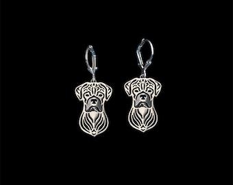 Boxer (natural ears) Earrings - sterling silver