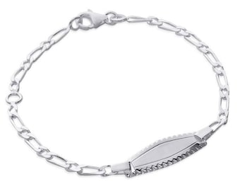 Silver curb chain Bracelet for child with engraved name 61958135 16 cm
