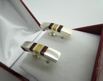 Unique Silver & Two-Tone Amber Earrings EM004