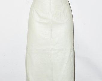 "Ivory Leather TAIFUN Wiggle Pencil Calf Length Skirt Size UK10 W29"" L25"""