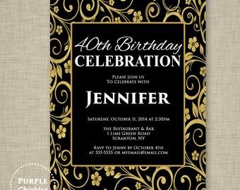 30th 40th 50th Birthday Invitation Gold and Black Invite Flower Invite Feminine Invite Surprise Invite Milestone Black Party Invite 277