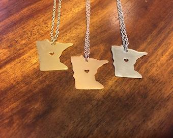 Minnesota Necklace - Minnesota Pendant - Minnesota Charm - Minnesota Outline - Minnesota Jewelry - Minnesota - Minnesota State - MN