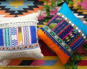 Boho Home Decor Throw Pillow Set of 2 - Colorful Bohemian Mexican Gypsy Cushion Covers