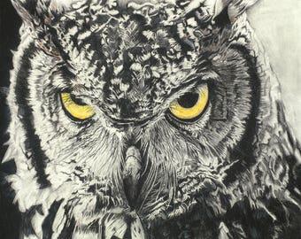 Charcoal owl, Owl painting, Woodland Nursery, Animal Paintings, owl, fox, Animal Wall Art, Wall Decor, woodland owl
