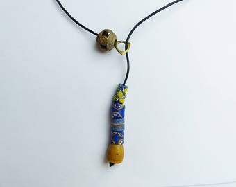 Necklace glass beads and brass blue and yellow