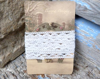 Vintage Antique old French 1900 white handmade cotton lace & retro card set
