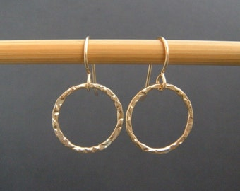 """small gold hoops. textured circle earrings. 14k gold filled dangles. drop earrings. modern simple gold jewelry. gift for her 5/8"""" circle"""