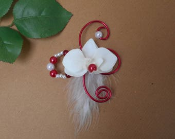 Shawl pin - brooch red and white bridal Orchid