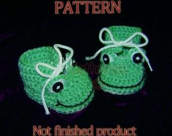 Baby Boy Frog Booties - Instant Download Crochet Pattern