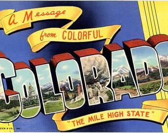 Colorado Large Letter Vintage Postcard (unused)