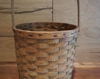 Oak Splint Wood Swing-Arm Gathering Basket