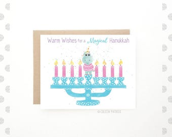 Happy Hanukkah - Unicorn Holiday Card - Jewish Holiday -  Recycled Paper - Chanukah Card - Unicorns - Menorah