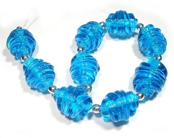 Handmade  Glass Lampwork Beads Aqua Blue Whirled