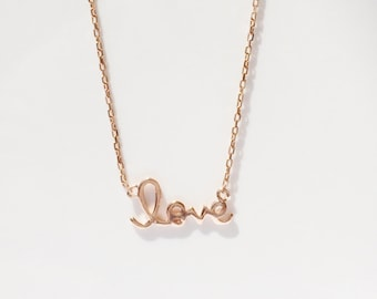 Love Necklace, in Rose Gold Plated 925 Sterling Silver • Waterproof • A Rose Gold Radiance Perfect for Everyday Use at a Wonderful Low Price