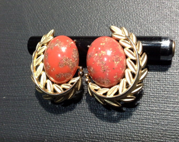 Emmons Vintage Clip On Earrings Gold Tone Leaf Reef with Coral Red & Gold Leaf Glass Egg Cabochon