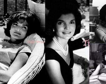 Vintage Jackie Kennedy Portait Assortment in Black and White Custom Stationary Greeting Cards