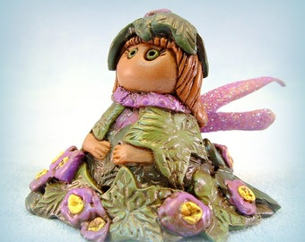 Violet Flowers and Ivy Pixie Fairy Fantasy Miniature Polymer Clay Art Doll Miniature