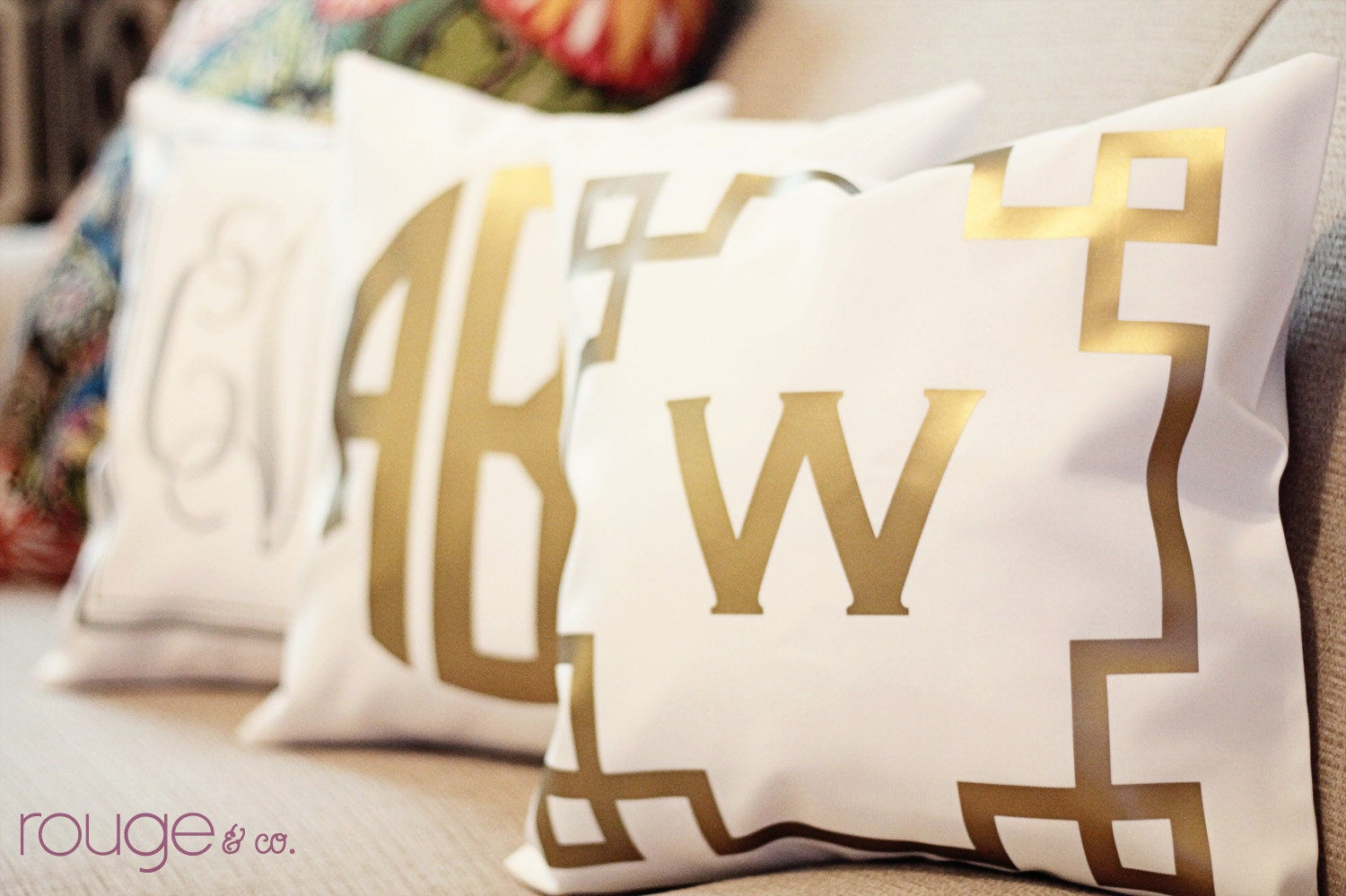 METALLIC monogrammed throw pillow 16x16 copper gold or