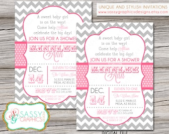 Girls Baby Shower Invitation with chevron stripes and polka dots in shades of pink and gray. Printable, Digital File (#141)