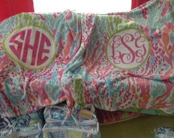 Easy Order-Monogrammed 60x50 Velveteen Plush Blanket