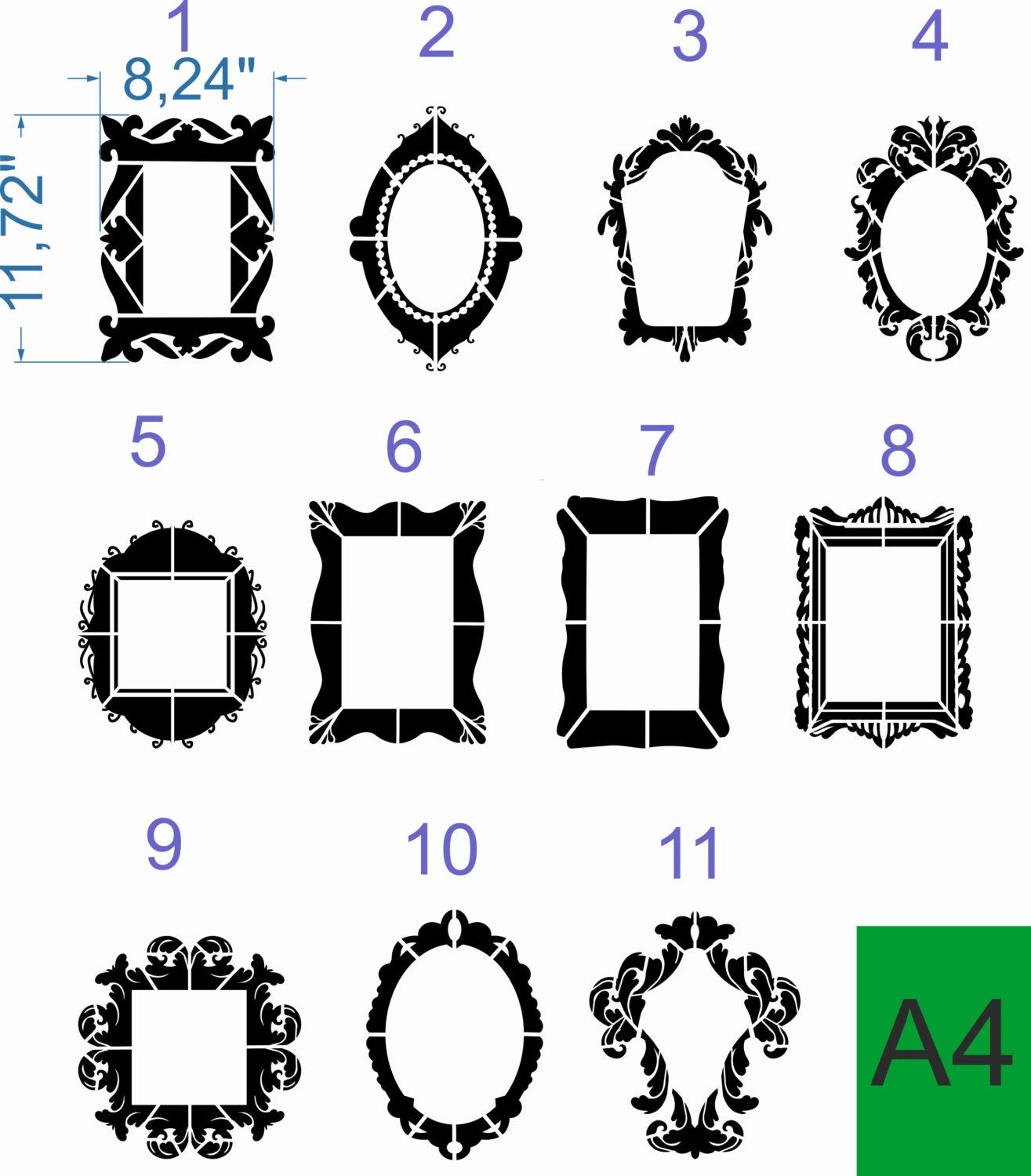 Custom stencils a4 plastic stencil frame ornate oval chic wall zoom jeuxipadfo Image collections