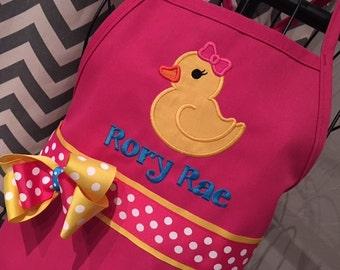 Personalized Rubber Ducky Apron - Kids Apron - Adult Apron - Hot Pink Apron - Girl Apron - Rubber Duck Apron