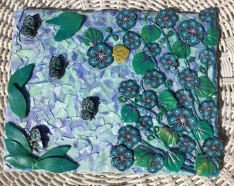 Butterflies in Blue - Polymer Clay on Canvas