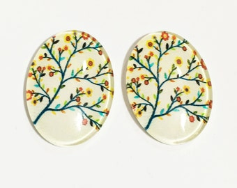 4 Glass cabochon with tree life  print 18x25mm, flat oval cabochon
