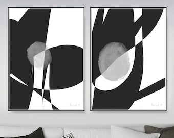 Set of 2 Prints, 2 Black & White Abstract Art, Printable Abstract, instant download, Minimal art, A1 Prints, Gallery wall prints