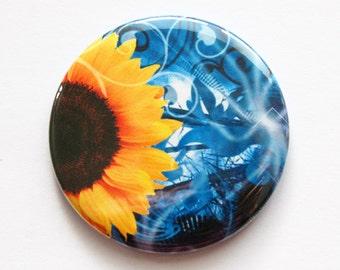 Sunflower mirror, Flower pocket mirror, pocket mirror, Flower, Floral, mirror, purse mirror, gift for her, Bridesmaid gift (3493)