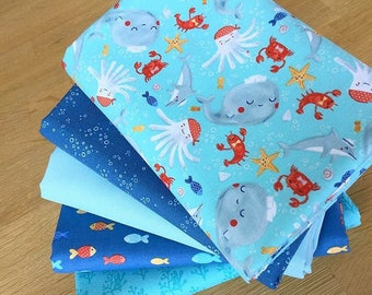 SAIL AWAY Fat Quarter Bundle B by Clothworks Children Sea Fish Octopus fabric